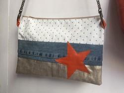 Pochette tissu avec chaine étoile orange - Voir en grand