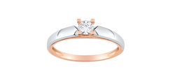 Bague bi-colore diamant 0,20 ct  - Voir en grand