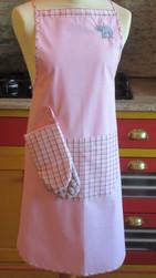 Ensemble pour cuisiner, tablier brodé et gant en coton - Tablier brodé éléphant porte-bonheur avec gant - Riz de Soie - Voir en grand