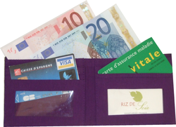 Portecartes/portefeuille artisanal, coton mélangé tissé main - Porte-cartes/portefeuille artisanal, tissé main - Riz de Soie - Voir en grand