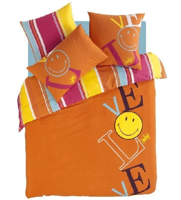 Housse de couette smiley lover orange nuit jour linge - Housse de couette 1 personne ado ...