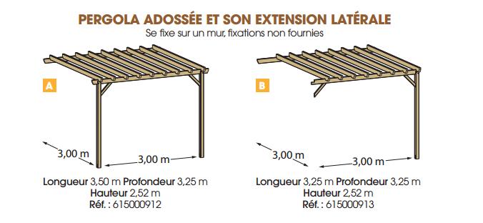 pergola en bois adoss e jugo tarif et prix b a bois. Black Bedroom Furniture Sets. Home Design Ideas