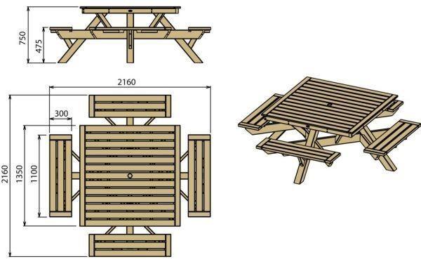 Table pique nique carr e en bois tarif et prix b a bois for Plan table bois