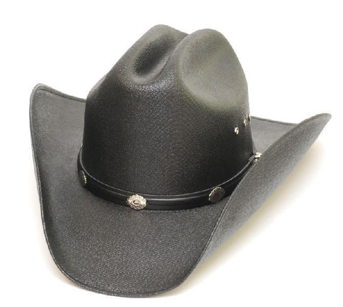 chapeau country en paille dure noir taille sm deco us country. Black Bedroom Furniture Sets. Home Design Ideas