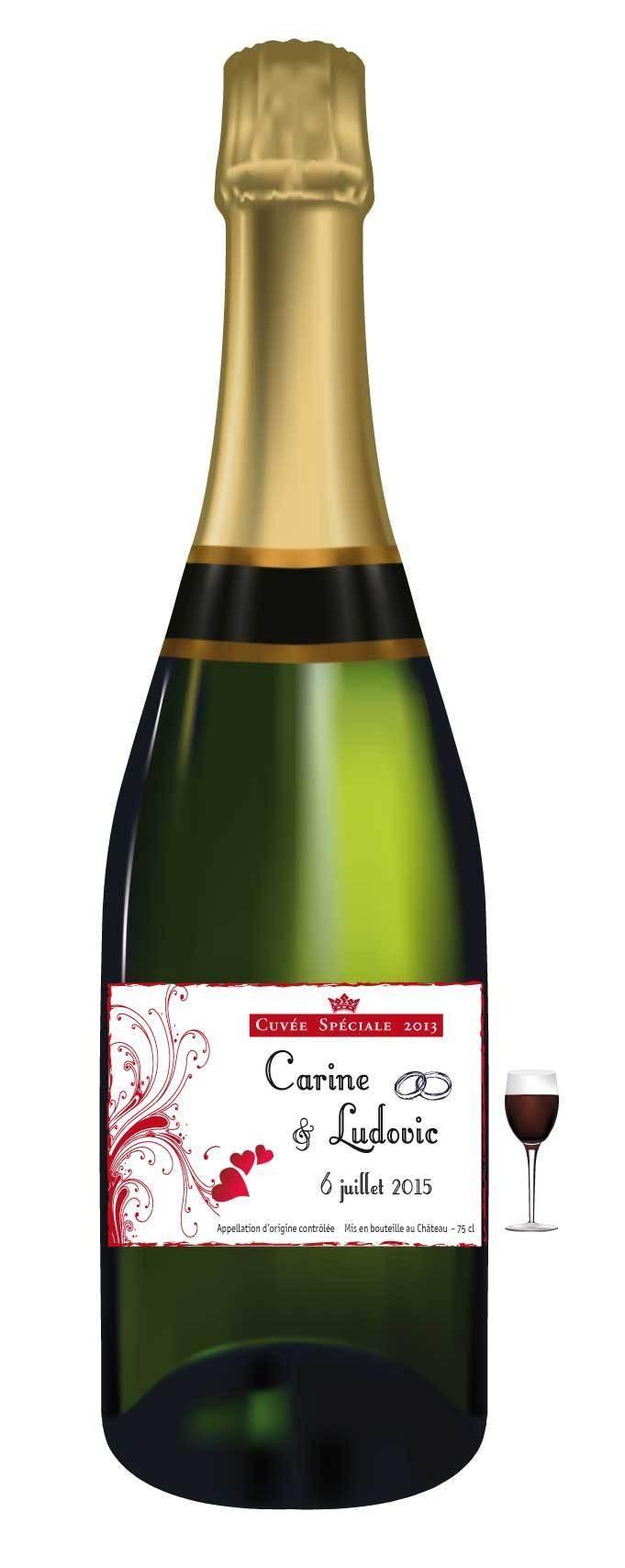 etiquettes bouteille mariage personnalise arabesques rouge passion grenoble - Tiquette Personnalise Champagne Mariage