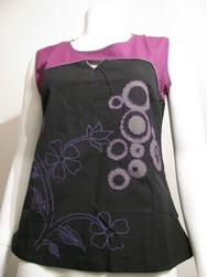 tee shirt ethnique rond noir et violet couleur du monde - Voir en grand