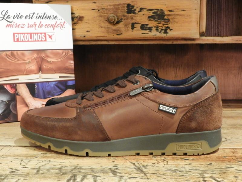 Sneakers homme cuir marron ou noir PIKOLINOS - Voir en grand
