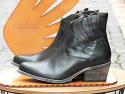 Bottine coupe Santiag CASTA cuir vert métal à talon - Voir en grand