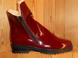 Bottines d'hiver doublées laine femme ARCUS cuir vernis rouge ou noir très souple - Voir en grand