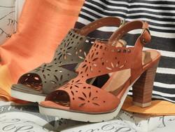 Sandales à talon MAMZELLE cuir nubuck orange ou kaki - Voir en grand
