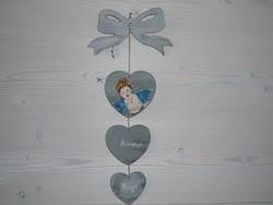 """Coeur  à suspendre patiné """"Ange"""" - Déco Bohème Enfant - Les Montagnes de P'tit Louis - Voir en grand"""