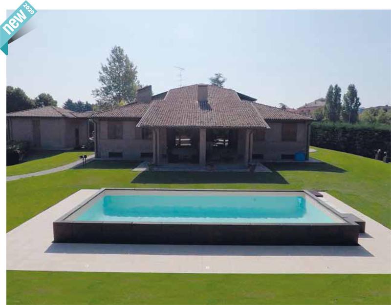Installation piscine luxe semi enterrée laghetto divina habillage sans entretien alès proche uzès - Voir en grand