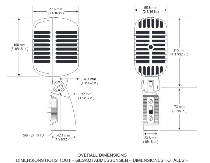 Micro Shure filaire 55SHT2-3 - Voir en grand