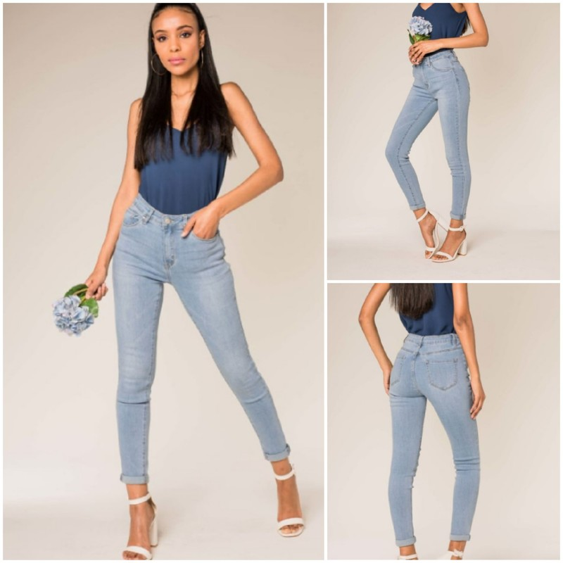 Jean slim bleu clair - Jeans - Mode Chris'Ka - Voir en grand