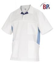 Tunique médicale BP Blanc et bleu clair - Voir en grand