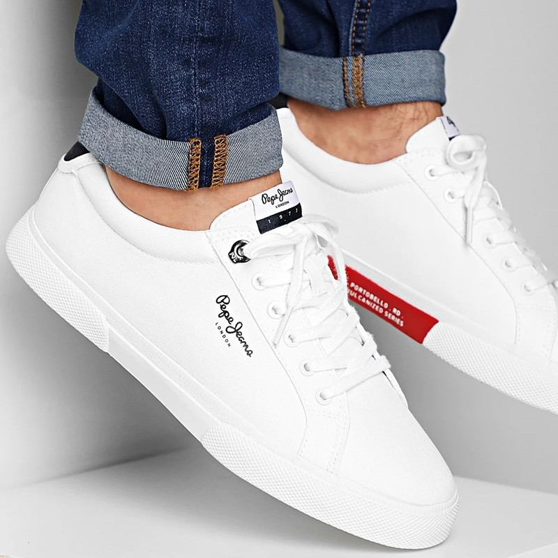 Baskets Pepe Jeans Kenton Blanches - CHAUSSURES FOURCHON