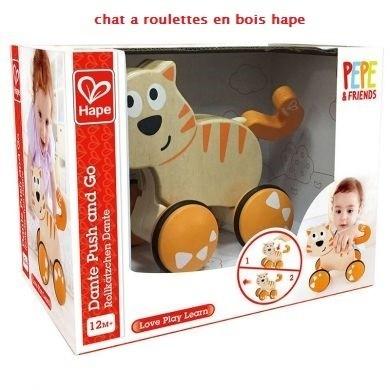 chat a roulette hape en bois  - jouet bois  - VERO BOUTIQUE - Voir en grand