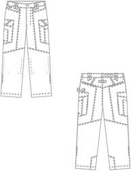 Croquis pantalon de travail BP Worker Denim