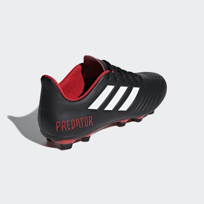 Crampons Moulés Adidas Predator 18.4 FxG noire et rouge