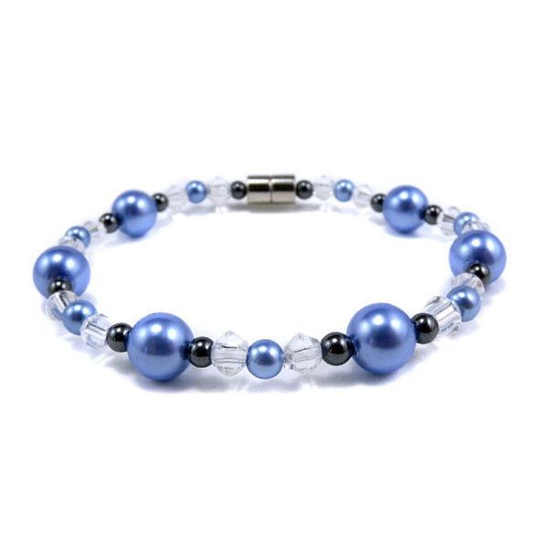 Bracelet Magnétique Hématite et Perles - BRACELETS MAGNETIQUES THERAPIE MAGNETIQUE - ALPHA BIEN ETRE - Voir en grand