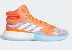 Chaussure de Basketball Homme Adidas Marquee Boost Bleu ciel/Orange - Voir en grand