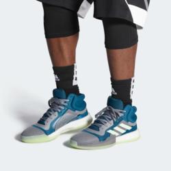 Chaussure de Basketball Homme Adidas Marquee Boost Gris/Vert - Voir en grand
