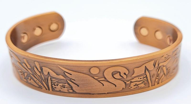 bracelet magnétique MJ 1105 CYGNE LUNE - BRACELETS MAGNETIQUES THERAPIE MAGNETIQUE - ALPHA BIEN ETRE - Voir en grand