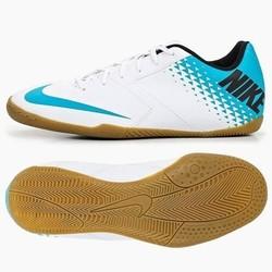 Crampons Futsal enfant Nike Bomba IC blanc/bleu turquoise - Voir en grand
