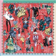 Foulard Christian Lacroix croquis red - Foulards, écharpes, châles - Le Gantelet du Roy - Voir en grand