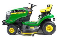 JOHN-DEERE - X125 - TRACTEUR - Ets CASTAGNE cycles, scooters et motoculture de jardin de la plaine de NAY - Voir en grand
