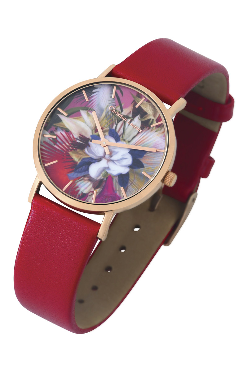 Montre Christian Lacroix bracelet cuir rouge cadran rosé - Montres - Le Gantelet du Roy - Voir en grand