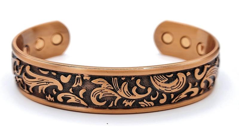 bracelet magnétique MJ 1100 FLEUR PLUME - BRACELETS MAGNETIQUES THERAPIE MAGNETIQUE - ALPHA BIEN ETRE - Voir en grand