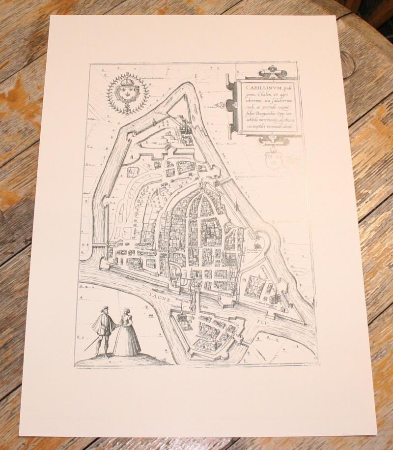 Reproduction Plan de Chalon sur Saône Braun Hogenberg 1588 - Gravure - Au Gré du Van - Voir en grand