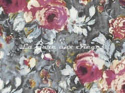 Tissu Casamance - Galante - réf: 3818.0101 Rose sorbet/Gris fusain - Voir en grand