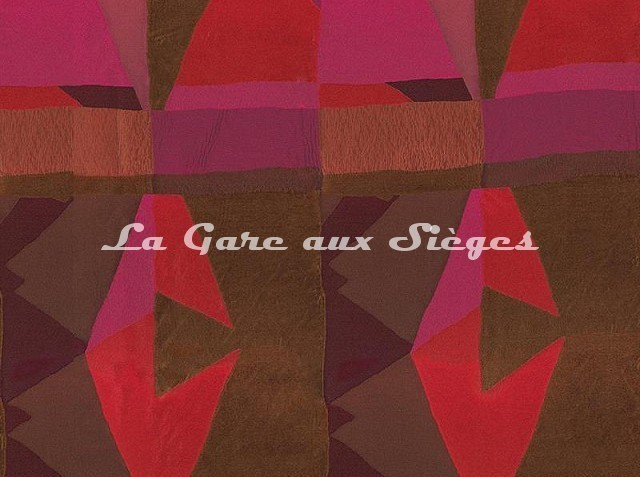 Tissu Casamance - Fantasque - réf: 3797.0329 Magenta/Roux - Voir en grand