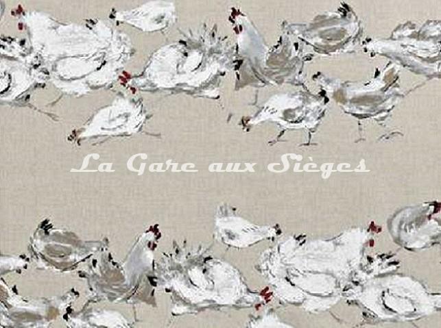 Tissu Boussac - Les Cocottes - réf: O7705-001 Ecru - Voir en grand