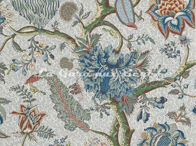 Papier peint Braquenié - Le Grand Corail ( bleu ) - Voir en grand
