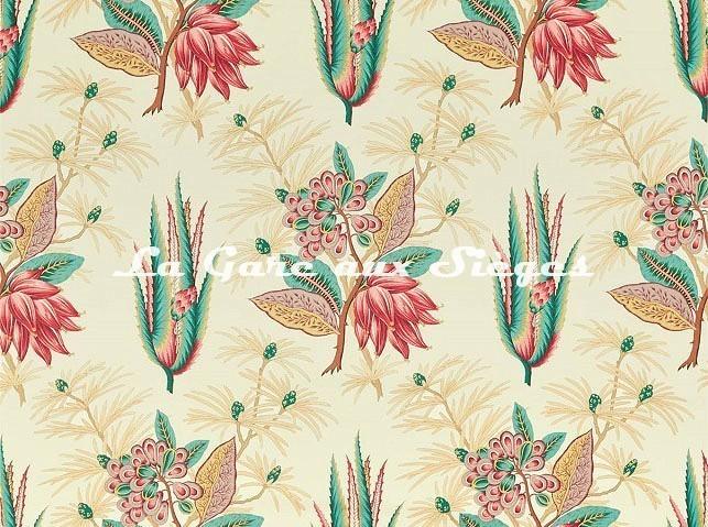 Tissu Zoffany - Desert Flower - réf: 322694 Crimson/Teal - Voir en grand