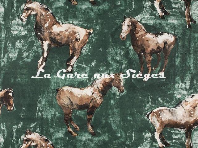 Tissu Donghia - Horses - réf: 10357.004 Green - Voir en grand