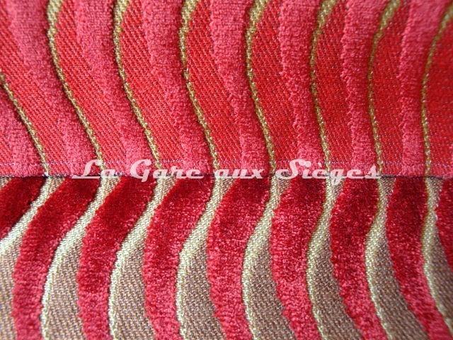 Tissu Casal - Velours Marcello - Réf: 12644 Coloris: 70 Rubis & 4370 Or/Rubis - Voir en grand
