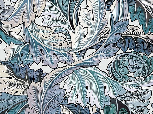 Tissu House of Hackney - Acanthus - Coloris: Aegean Blue/Off-White - Voir en grand