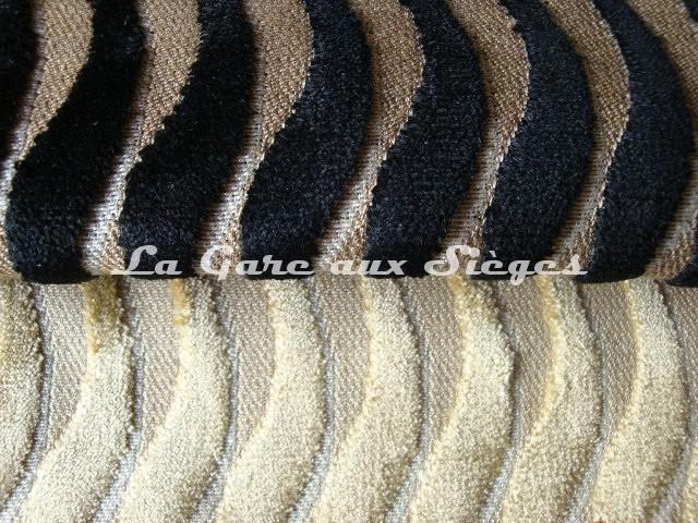 Tissu Casal - Velours Marcello - Réf: 12644 Coloris: 0 Ebène & 72 Beige - Voir en grand