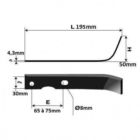 Couteau adaptable pour remplacement STAFOR 16811 \u0026 16812 www.martin, motoculture.fr
