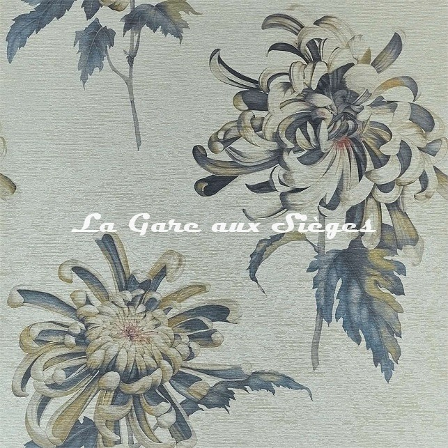 Papier peint Zoffany - Evelyne - réf: 312735 Tigers Eye/Bluestone - Voir en grand