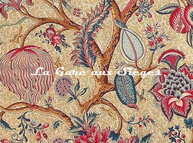Tissu Braquenié - Le Grand Corail - réf: B080A.003 Corail/Jaune - Voir en grand