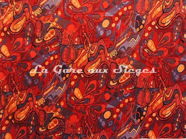 Tissu Casal - Velours Pop'Art - réf: 12839-70 Multi rouge - Voir en grand