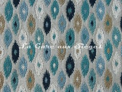 Tissu Osborne & Little - Charleston - réf: F6555-03 - Coloris: Peacock/Sky/Taupe/Ivory - Voir en grand