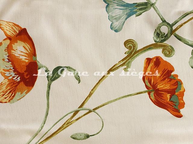 Tissu Bélinac - Garden - réf: 1023/3923-02 Blanc cassé/Orange/Bleu - Voir en grand