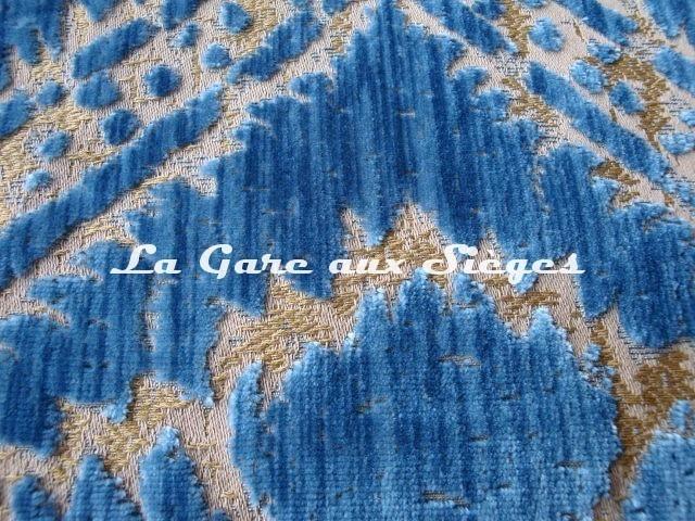 Tissu Fadini Borghi - Sforza - réf: I5004.003 Bleu - Voir en grand