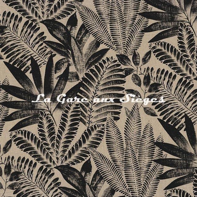 Tissu Casamance - Kristen Garden - réf: 4747.0258 Noir - Voir en grand